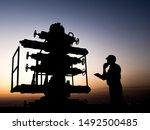 Silhouette Of A Oilfield Worker ...