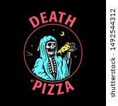 death by pizza grim reaper with ... | Shutterstock .eps vector #1492544312
