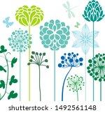 decorative flowers in blue...   Shutterstock .eps vector #1492561148