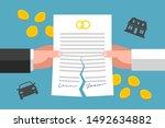 hands of ex wife and ex husband ... | Shutterstock .eps vector #1492634882