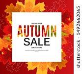 shiny autumn leaves sale banner....   Shutterstock .eps vector #1492662065