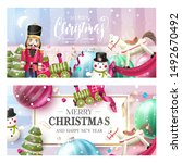 christmas headers or banners... | Shutterstock .eps vector #1492670492