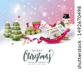christmas greeting card with... | Shutterstock .eps vector #1492670498