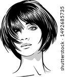 beautiful girl portrait. bob...   Shutterstock .eps vector #1492685735