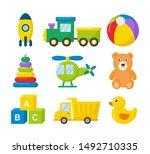 cartoon transport toys icon set.... | Shutterstock .eps vector #1492710335
