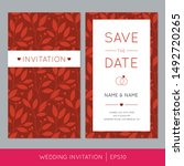red wedding invitation template ... | Shutterstock .eps vector #1492720265