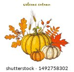 pumpkin and fall leaves bouquet.... | Shutterstock .eps vector #1492758302
