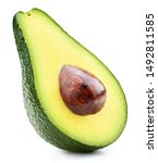 Small photo of Avocado half isolated on white background. Ripe fresh green avocado Clipping Path