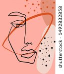 trendy abstract human face. one ... | Shutterstock .eps vector #1492832858