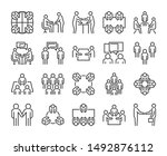 team icon. meeting line icons... | Shutterstock .eps vector #1492876112