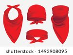 red bandana realistic 3d... | Shutterstock .eps vector #1492908095