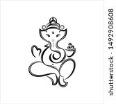 ganesha the lord of wisdom... | Shutterstock .eps vector #1492908608