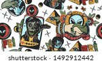 space invaders seamless pattern.... | Shutterstock .eps vector #1492912442