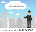 business man standing with... | Shutterstock .eps vector #1492945805
