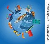 global logistics network.  3d...   Shutterstock .eps vector #1492953512