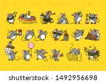 Vector Set Of Cute Gray Mouse...