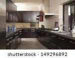 Stock photo interior of empty commercial kitchen 149296892