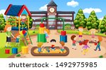 active boys and girls playing... | Shutterstock .eps vector #1492975985