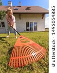Small photo of Unusual angle of woman raking leaves using rake. Person taking care of garden house yard grass. Agricultural, gardening equipment concept.