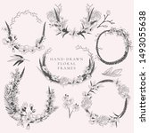 vector hand drawn doodle floral ... | Shutterstock .eps vector #1493055638
