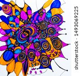 abstract pencil and markers...   Shutterstock . vector #1493069225