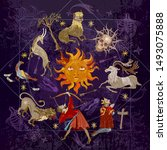 medieval astrology. eclipse.... | Shutterstock .eps vector #1493075888