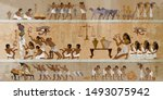 ancient egypt frescoes. life of ... | Shutterstock .eps vector #1493075942