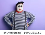 Serious Plump Mime With White...