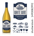 vector vintage white wine label ... | Shutterstock .eps vector #1493082992