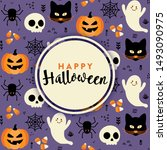 halloween greeting card design...   Shutterstock .eps vector #1493090975