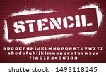 stencil font. graffiti spray... | Shutterstock .eps vector #1493118245