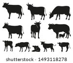 cow silhouette. black cows and... | Shutterstock .eps vector #1493118278