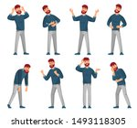 cartoon man character. thinking ... | Shutterstock .eps vector #1493118305