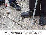 close up in blind man's feet... | Shutterstock . vector #149313728