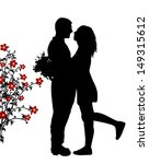 romantic couple silhouette... | Shutterstock .eps vector #149315612