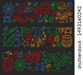 doodle pirate elememts  vector... | Shutterstock .eps vector #1493160242