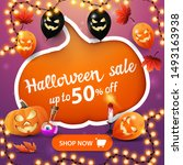 halloween sale  up to 50  off ... | Shutterstock .eps vector #1493163938