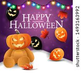 happy halloween  square purple... | Shutterstock .eps vector #1493163992