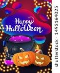 happy halloween  purple... | Shutterstock .eps vector #1493164025