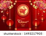 happy new year 2020 year of the ... | Shutterstock .eps vector #1493217905