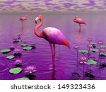 beautiful pink flamingos among... | Shutterstock . vector #149323436
