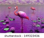Beautiful Pink Flamingos Among...