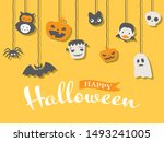 halloween cute character vector ... | Shutterstock .eps vector #1493241005