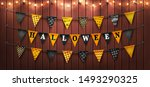 happy halloween background with ... | Shutterstock .eps vector #1493290325