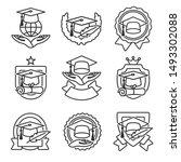 graduation cap labels set.... | Shutterstock .eps vector #1493302088