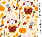 seamless pattern with hare... | Shutterstock .eps vector #1493329892
