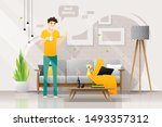 happy young man holding a cup... | Shutterstock .eps vector #1493357312
