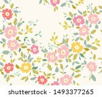 seamless abstract pink floral ... | Shutterstock .eps vector #1493377265