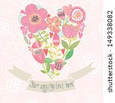 gentle floral heart with ribbon.... | Shutterstock .eps vector #149338082