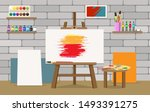 art studio interior. painter... | Shutterstock .eps vector #1493391275